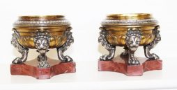 Pair of Antique Bronze and Marble Tazzas