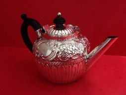 Antique Sterling Silver  Tea Pot With Dark Wood Handle