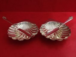 Set of Two Antique Sterling Silver Clam Shell Design Butter Dishes in Original Box