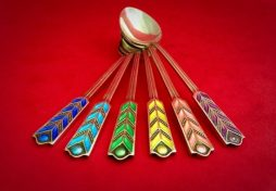 Set of Six Vintage Sterling Silver and Colourful Enamel Spoons