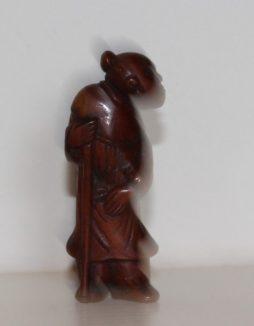 Antique Wood Netsuke of Man with Staff