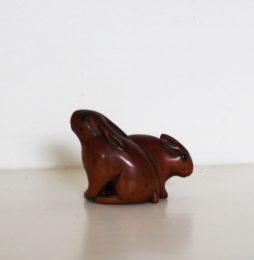 Antique Boxwood Netsuke of Rabbit and Mouse