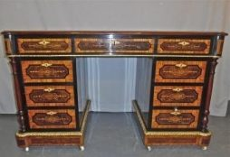 Antique Inlaid Pedestal Desk