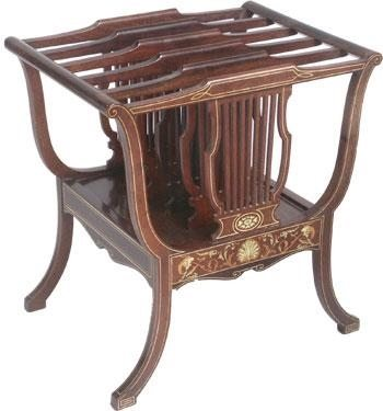 Antique Edwardian Inlaid Mahogany Canterbury