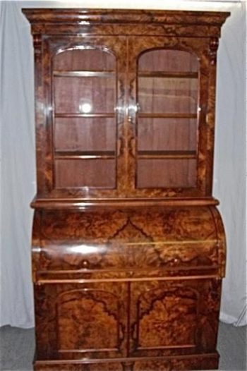 Antique Victorian Burr Walnut Roll Top Bureau Bookcase