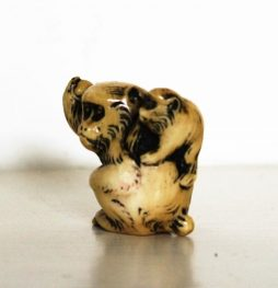 Signed Antique Ivory Netsuke of Monkey and Young