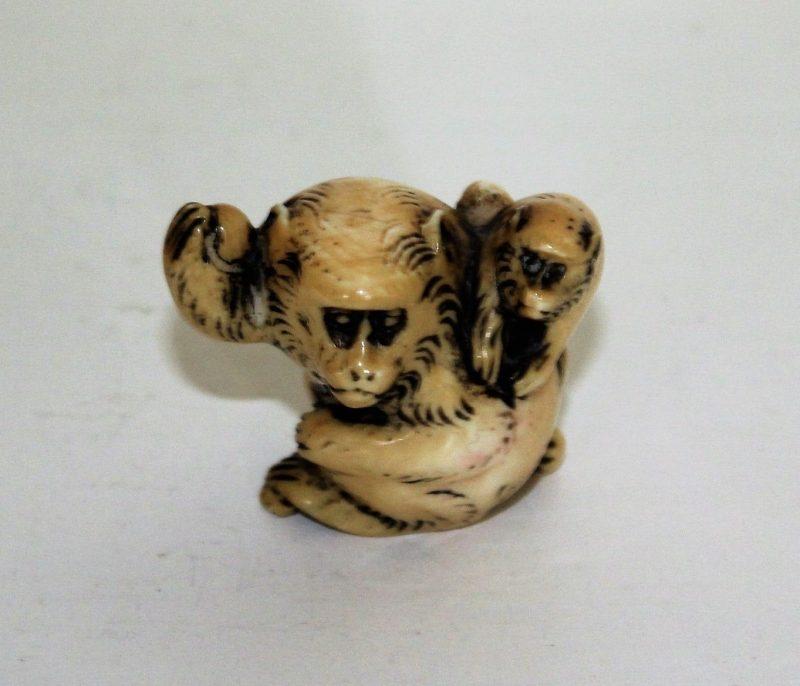 Signed Antique Ivory Netsuke Of Monkey And Young