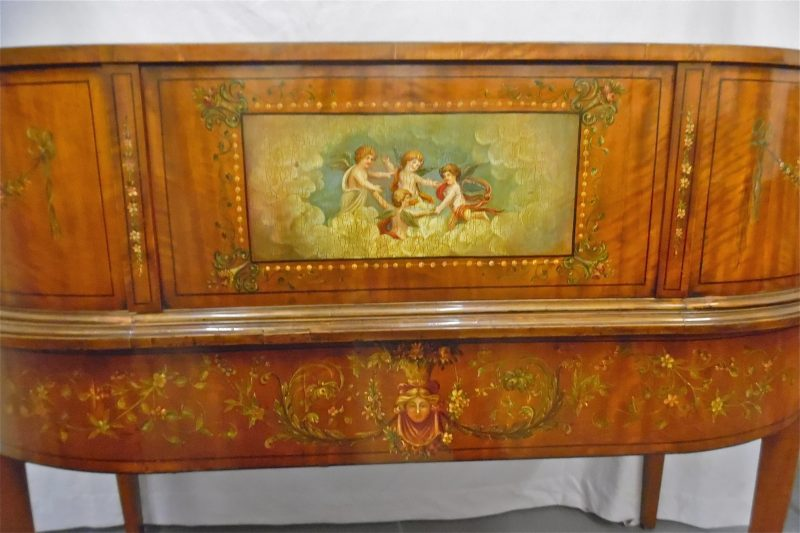 Antique Painted Satinwood Carlton House Desk Interior
