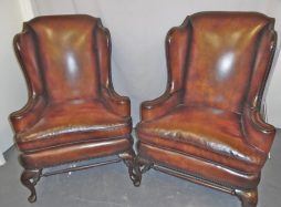 Antique Leather Wing Chairs