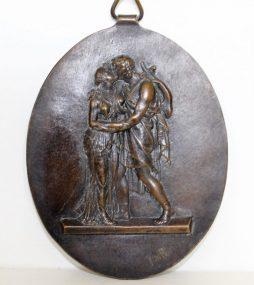 Antique Classical Bronze Plaque signed John Flaxman