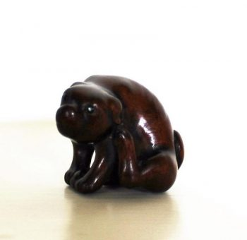 Antique Carved Wood Netsuke of Dog