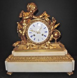 Antique Louis XVI Style Ormolu Mounted Marble Mantel Clock