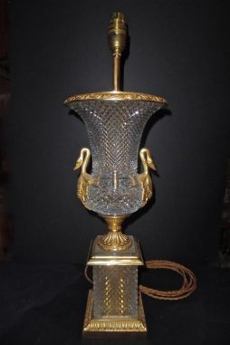 An Ormolu Mounted Cut-Crystal Lamp