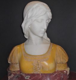 A Very Fine Antique Italian White, Sienna and Griotte Marble Bust of a Lady