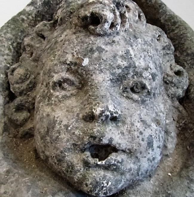 Antique Stone Cherub Fountain Head Interior Boutiques