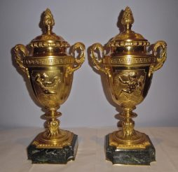 A Pair of Antique Neoclassical Style Ormolu and Green Marble Urns