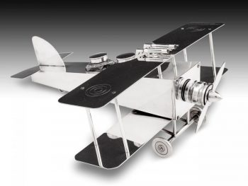 Silver-plated Bi-Plane Desk Companion by F. Reichenberg