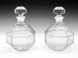 Pair of Art Deco Octagonal Decanters by Asprey and Co Ltd