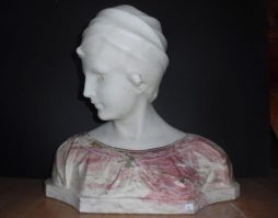 Antique Italian Marble Bust of a Lady by Guglielmo Pugi