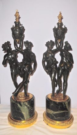 A Large Pair of Antique Marble Mounted Gilt and Patinated Bronze Bacchanal Figures