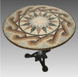 Antique Mosaic-Top Bistro Table from Italy