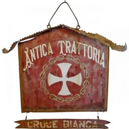 Antique Double Sided Hanging Sign from Italian Trattoria