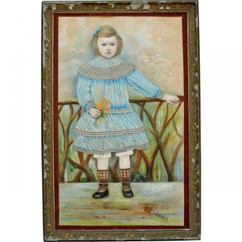Antique Naive Portrait in Pastels of a Young French Girl
