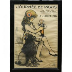 Rare Original Antique World War I Framed Poster from France