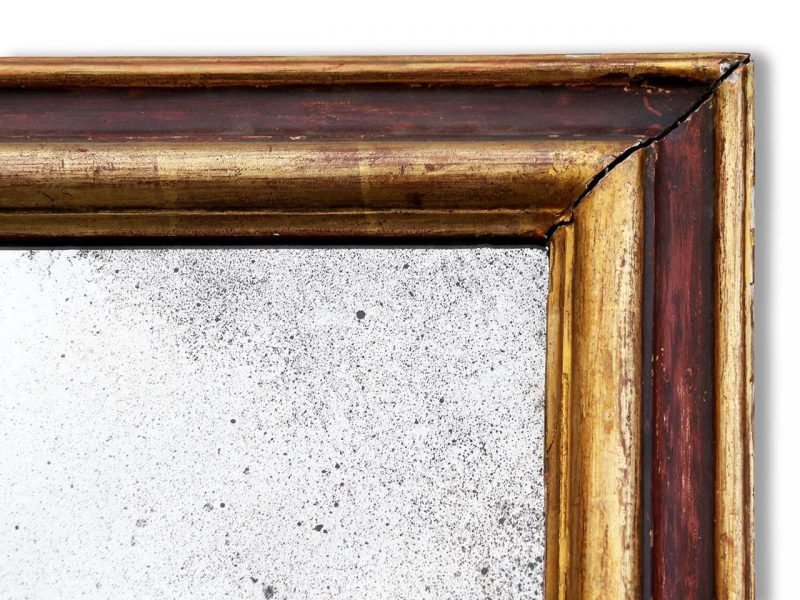 Antique French Wall Mirror In Gilded And Painted Wood