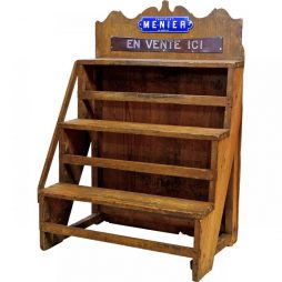 Antique Wooden Chocolate Shop Shelf Rack from France