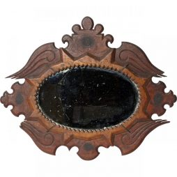 Unusual Antique Sailorwork Mirror in Carved Wooden Frame