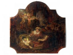 Antique Nativity Scene Oil Painting on Board from France