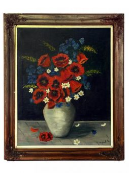 Antique Still-Life Oil Painting of Poppies