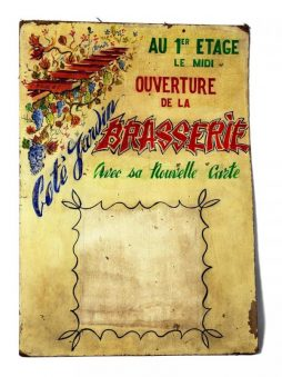 Hand-painted Vintage Menu Board from a Restaurant in France