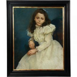 Signed Antique Pastel Painting of Girl in White Dress- French Circa 1898