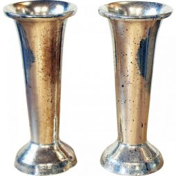 Pair of Vintage Silvered Flower Vases