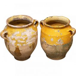 Pair of Antique Earthenware Confit Pots from France