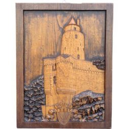 Vintage Carved Wooden Panel with French Chateau