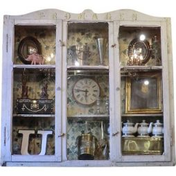 Antique French Cheese Shop Wall Cabinet
