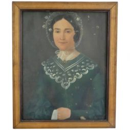 Naive Charming Painting of French Woman wearing a Bonnet