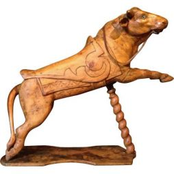 Small Brown Carved Wood Carousel Bull