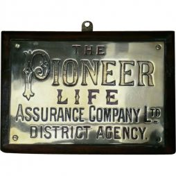 Brass Insurance Pioneer Life Plaque