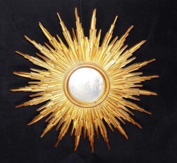 A Large Carved Wood Sunburst Mirror