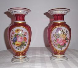 An Antique Pair of Bohemian Enamelled Crystal Vases