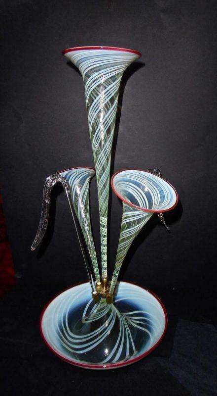 Antique Large Vaseline Glass Epergne Interior Boutiques