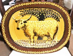 Antique Slipware Charger of Bull
