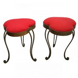 Pair of Gilded Mid-Century Love Hart Stools