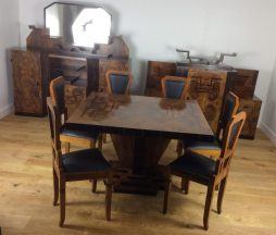 Art Deco Dining Suite in Burr Walnut and Macassar by Osvaldo Borsani