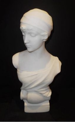 An Antique French Alabaster Bust of a Lady