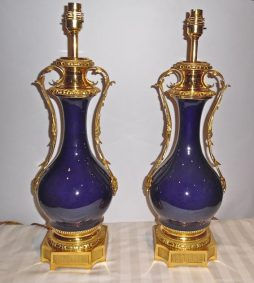 Antique Pair of Ormolu Mounted Bleu Royal Porcelain Lamps